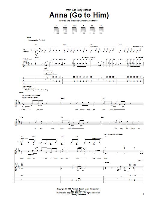 Anna (Go To Him) Sheet Music
