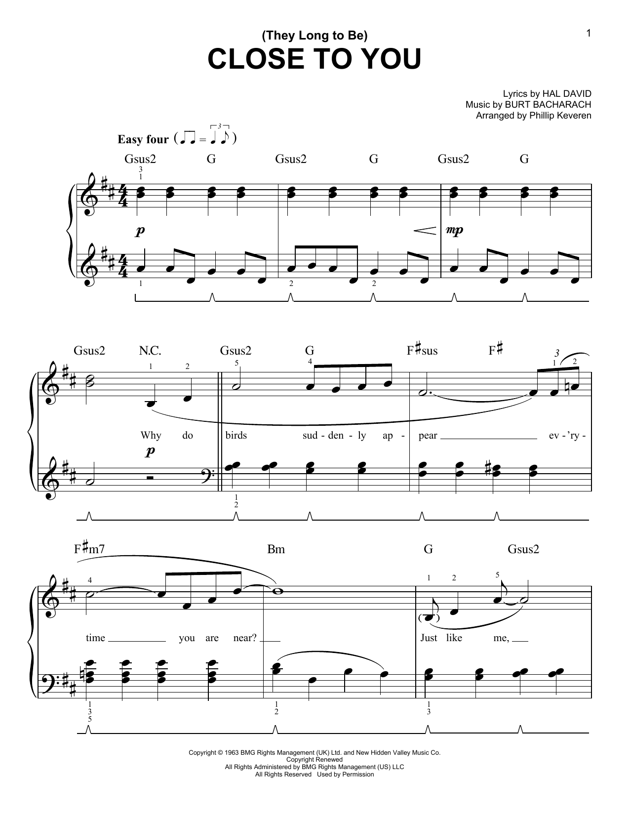 (They Long To Be) Close To You (arr. Phillip Keveren) (Easy Piano)