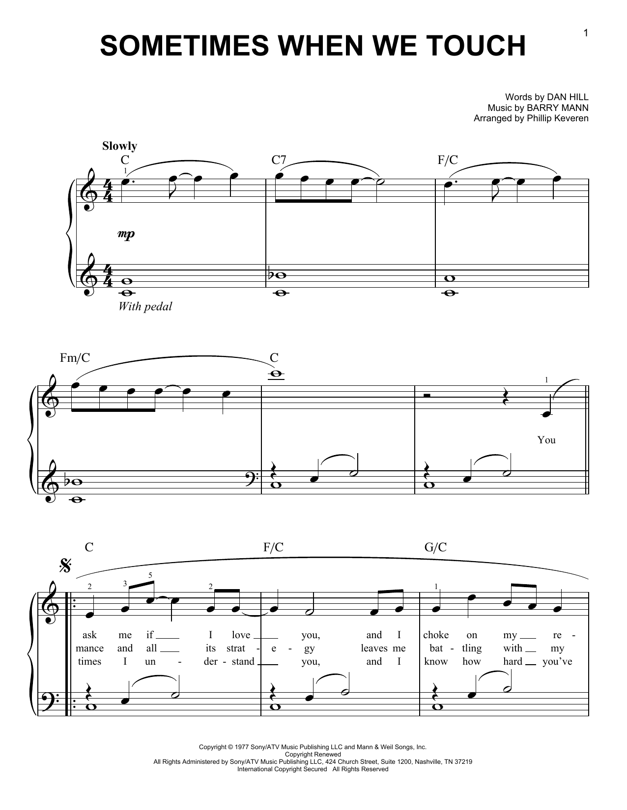 Sometimes When We Touch (arr. Phillip Keveren) (Easy Piano)