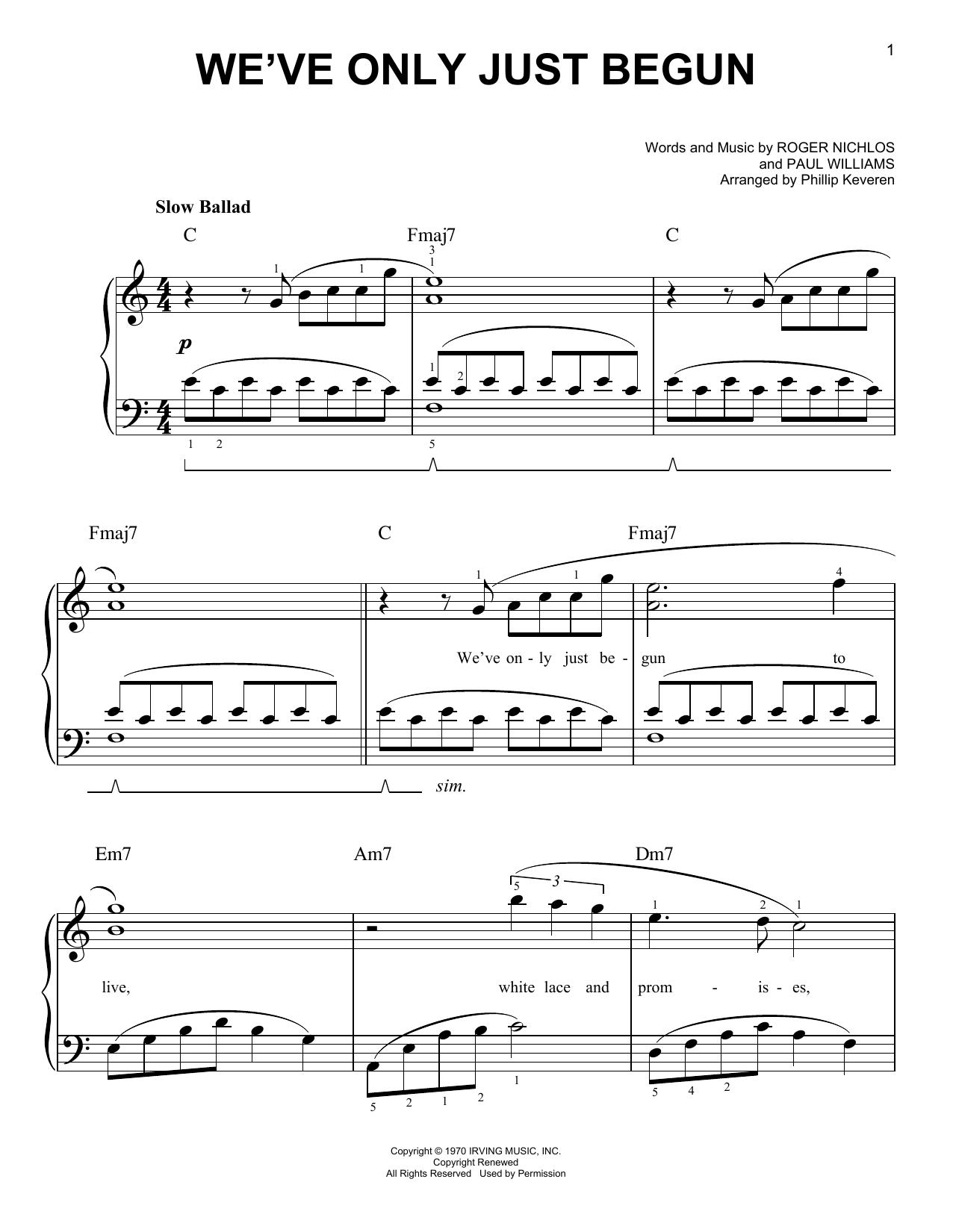 We've Only Just Begun (arr. Phillip Keveren) (Easy Piano)