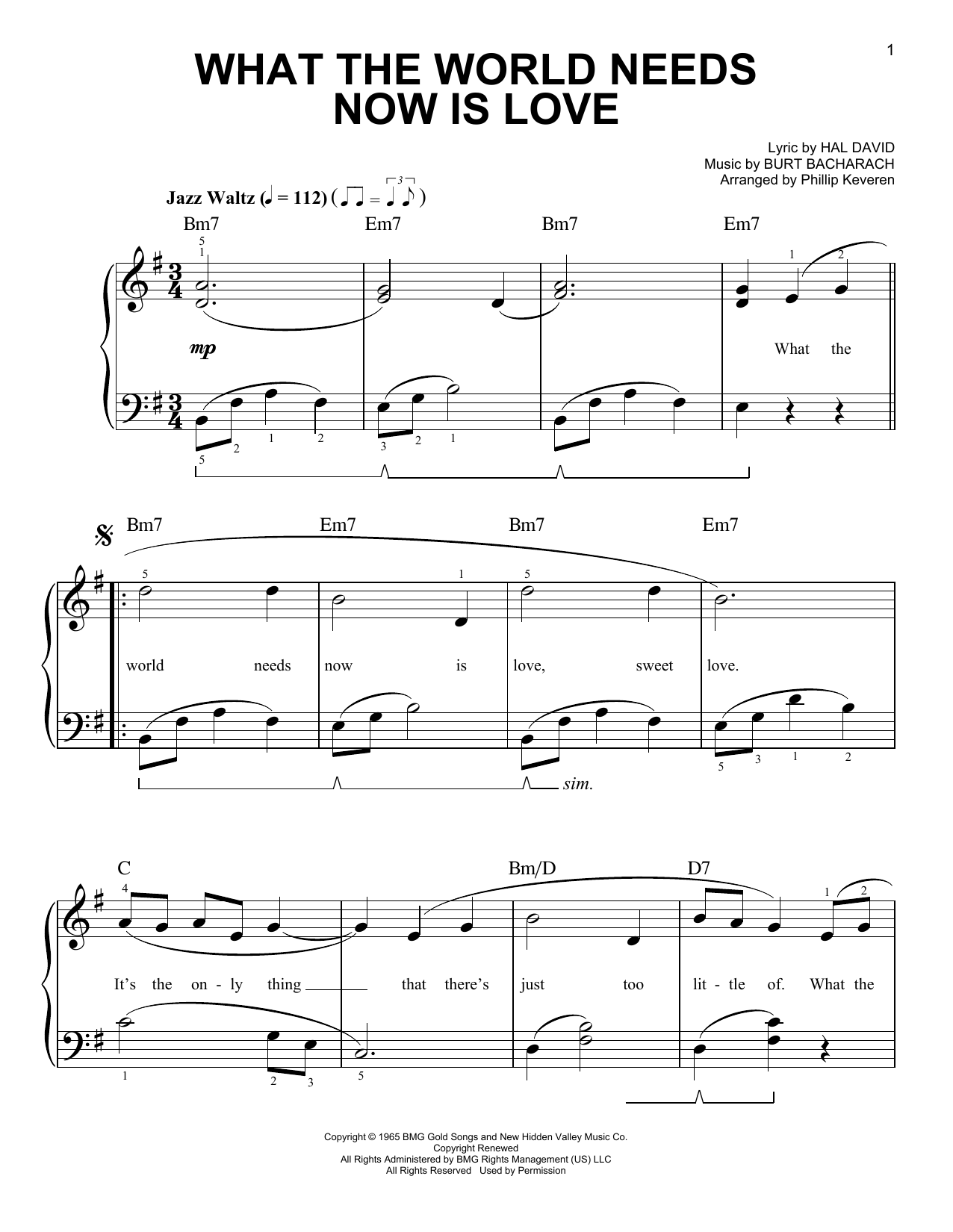What The World Needs Now Is Love (arr. Phillip Keveren) (Easy Piano)