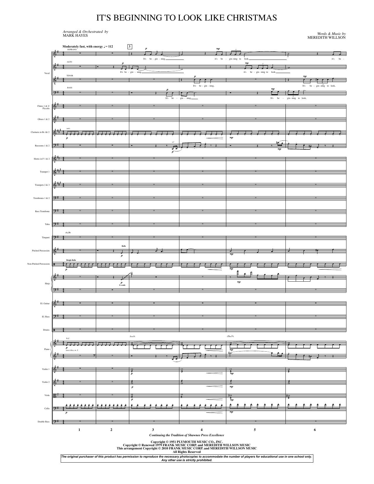 It's Beginning To Look Like Christmas (arr. Mark Hayes) - Full Score (Choir Instrumental Pak)
