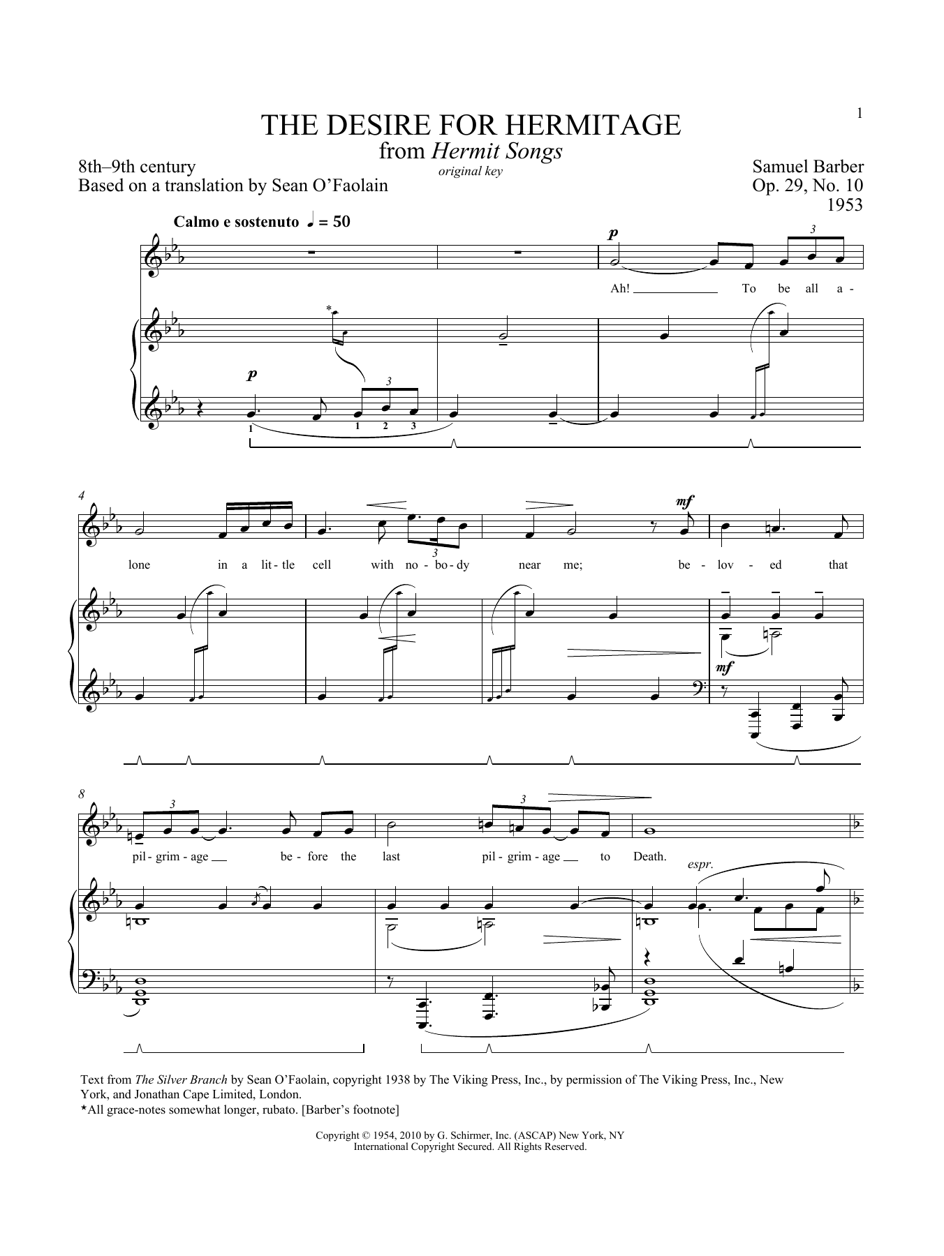 Hermit Songs - High Voice  by Samuel Barber
