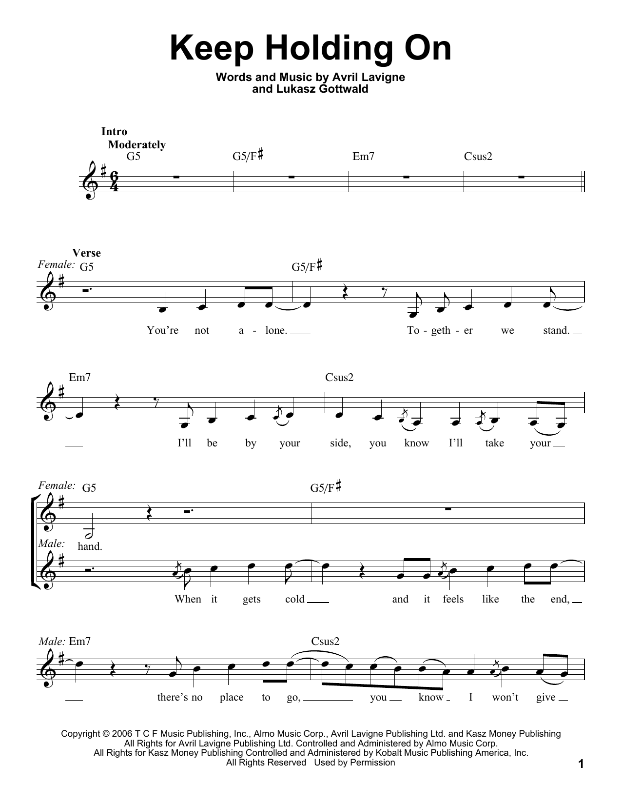 Keep Holding On - Avril Lavigne - Free Piano Sheet Music