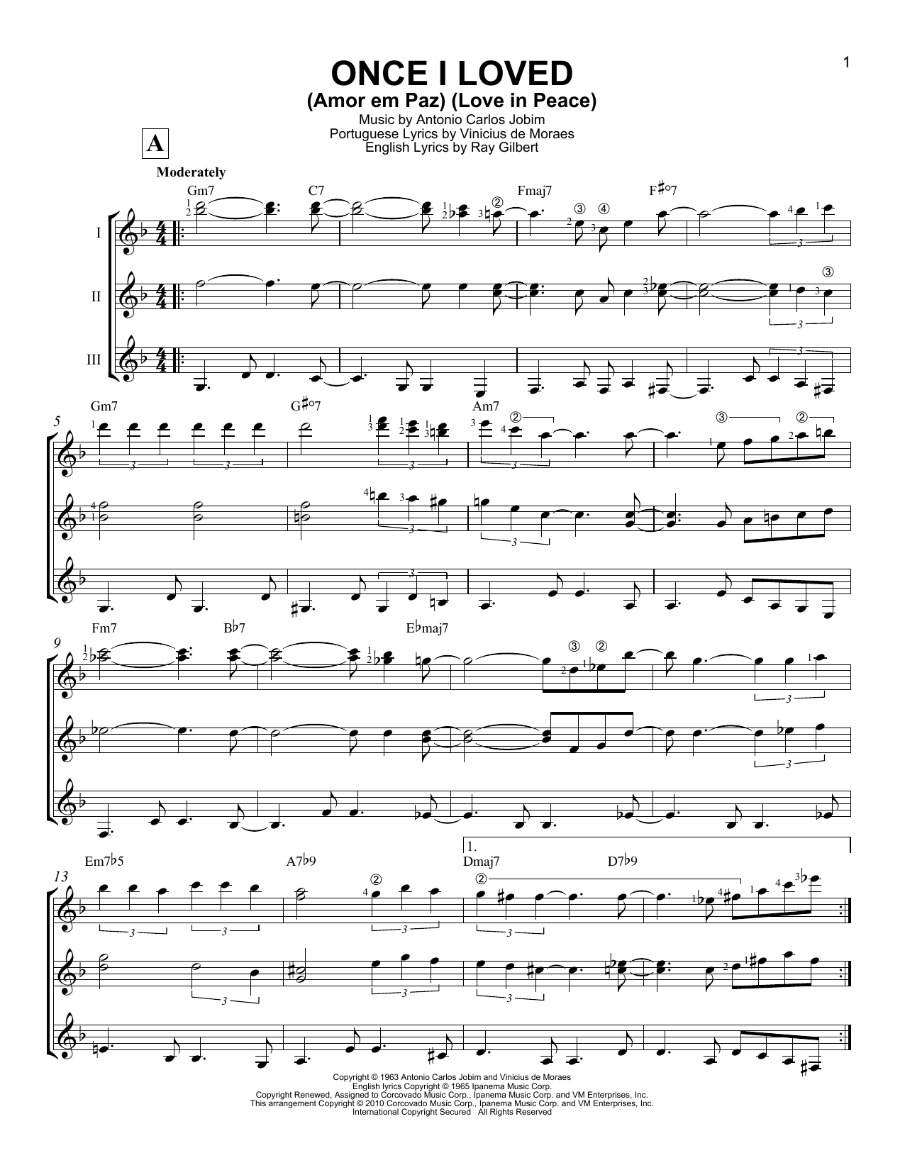 Once I Loved (Amor Em Paz) (Love In Peace) Sheet Music
