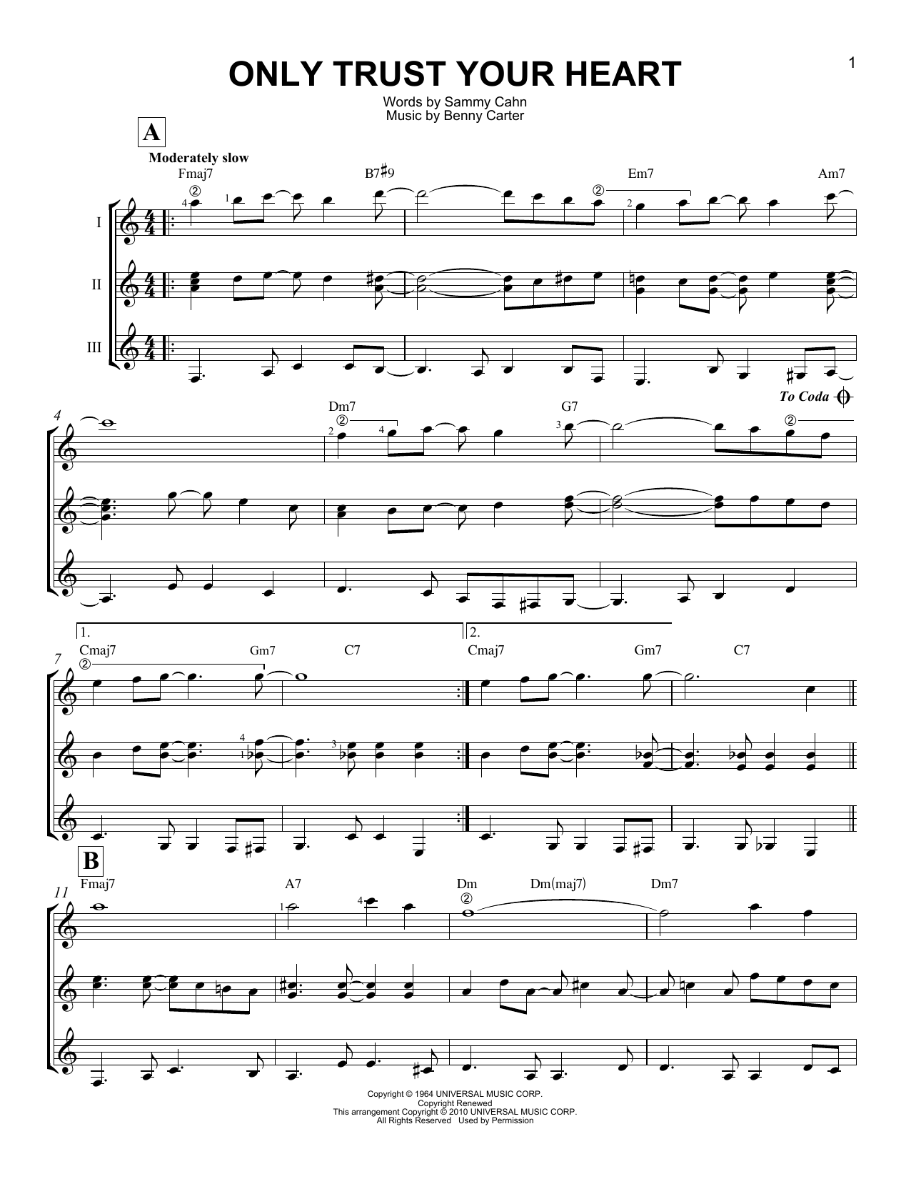 Only Trust Your Heart Sheet Music