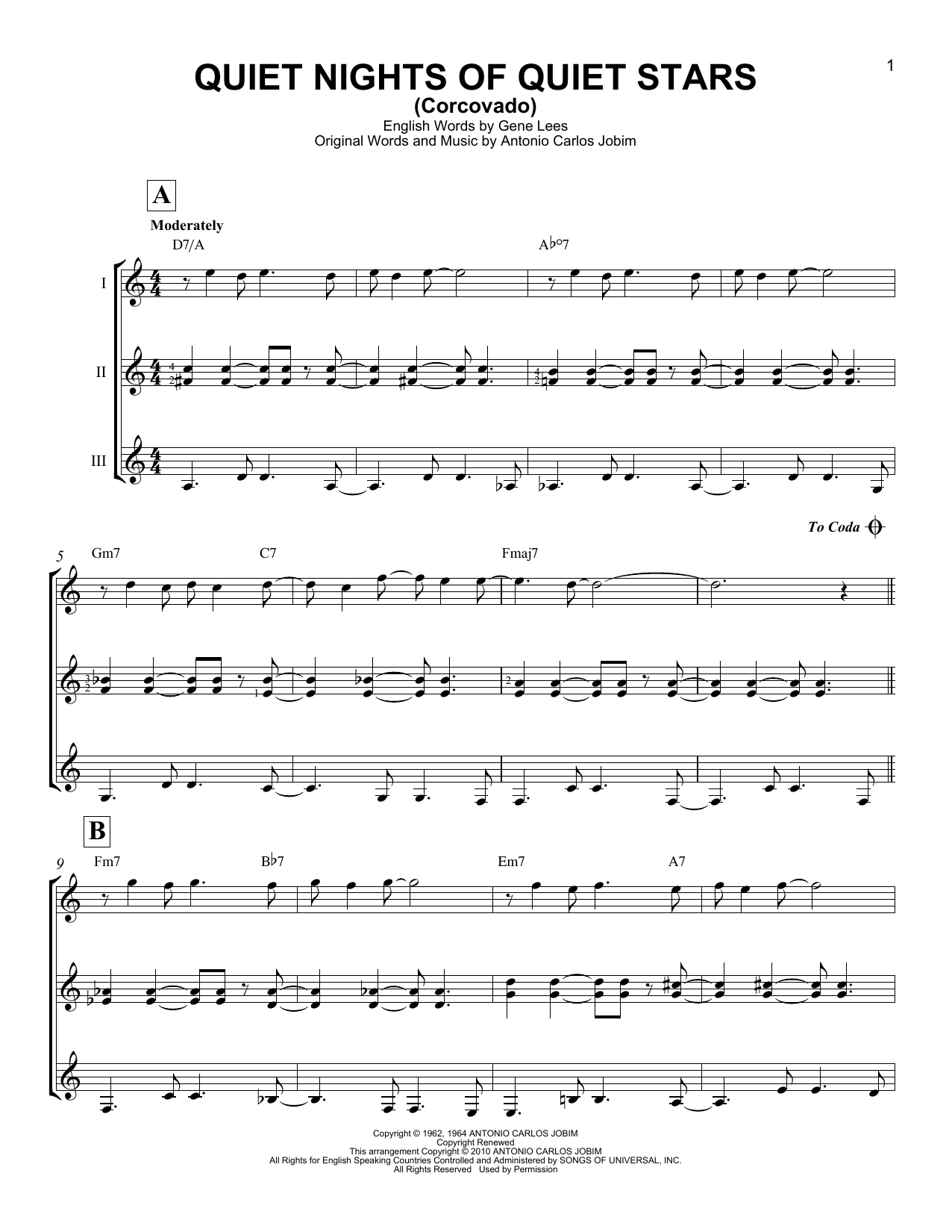 Quiet Nights Of Quiet Stars (Corcovado) Sheet Music