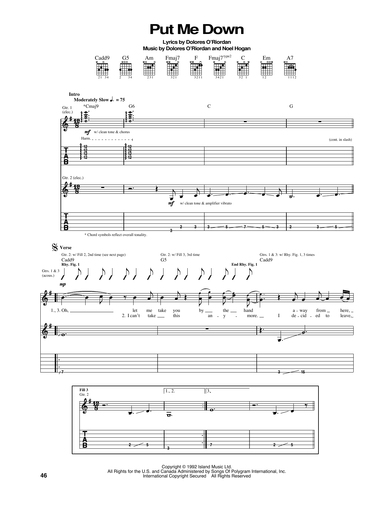 Put Me Down Sheet Music