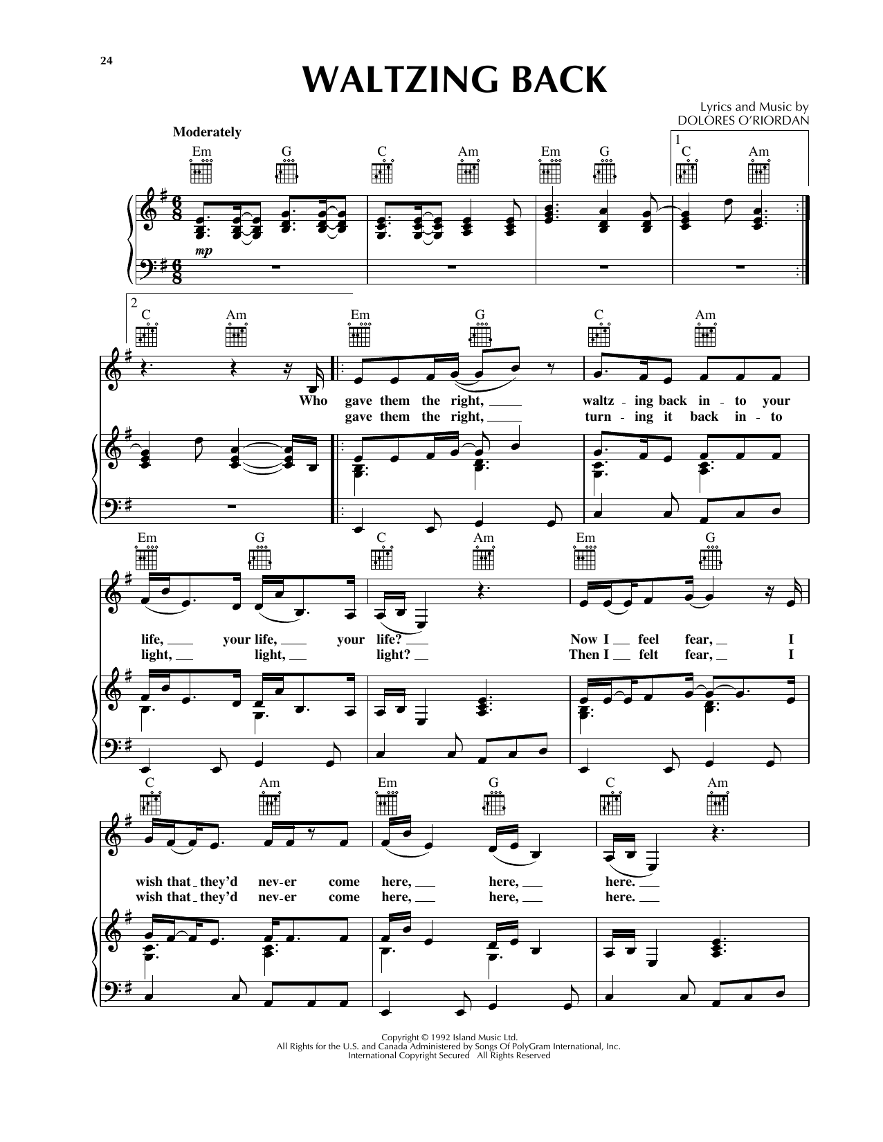 Waltzing Back Sheet Music