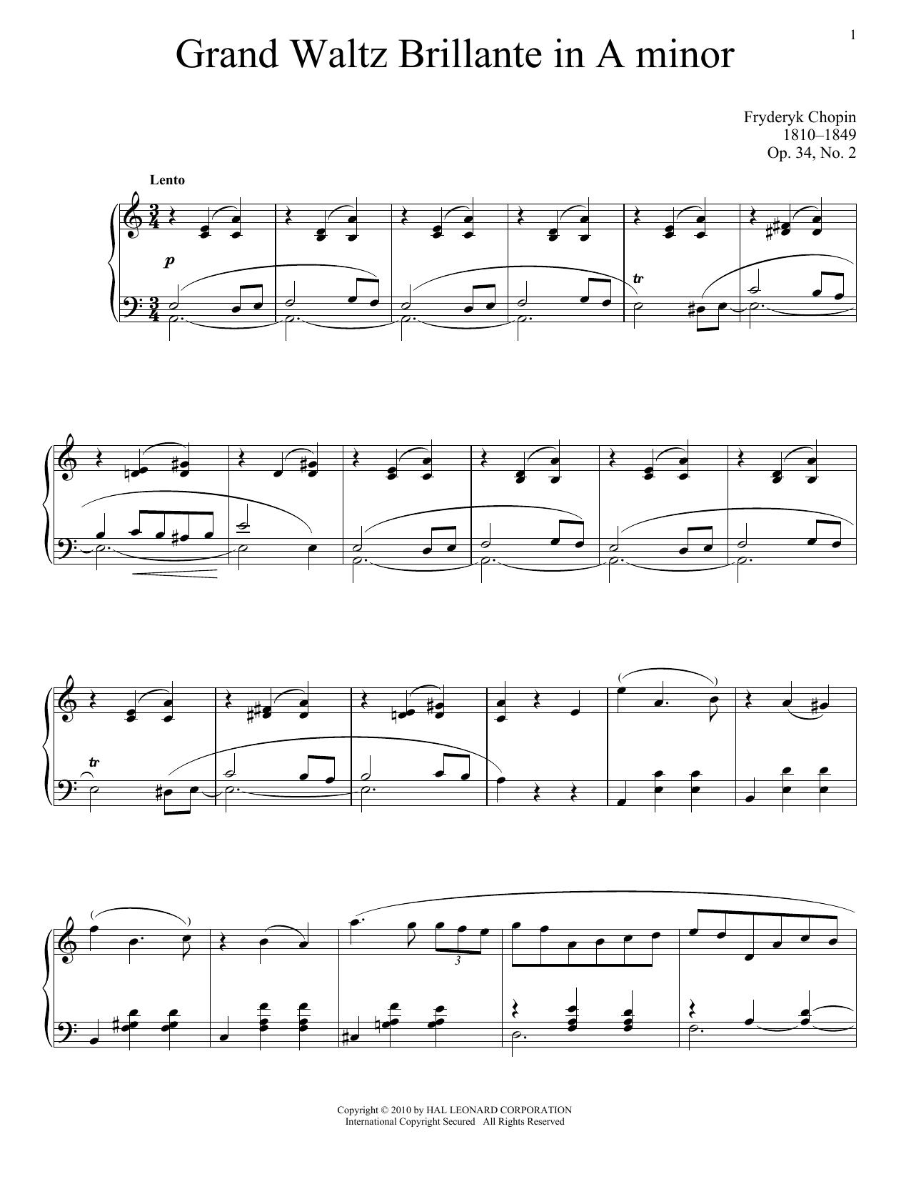Valse Brillante Op 34 No 2 Sheet Music Frédéric Chopin Piano Solo