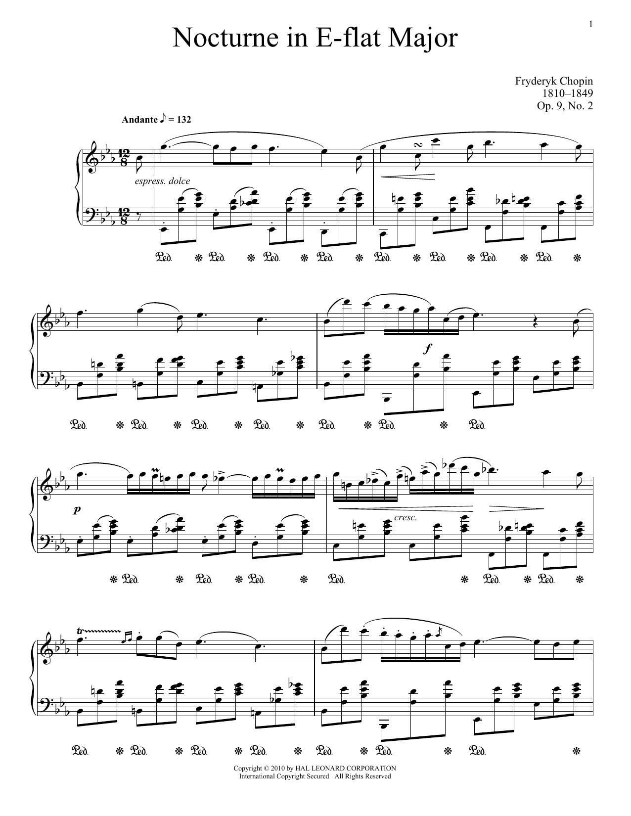 Nocturne In E-Flat Major, Op. 9, No. 2 (Piano Solo)
