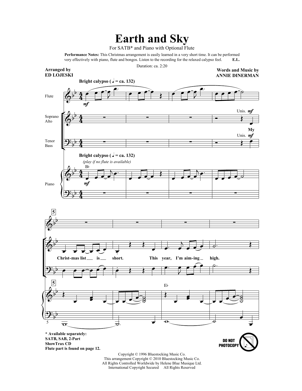 Earth And Sky (arr. Ed Lojeski) (SATB Choir)