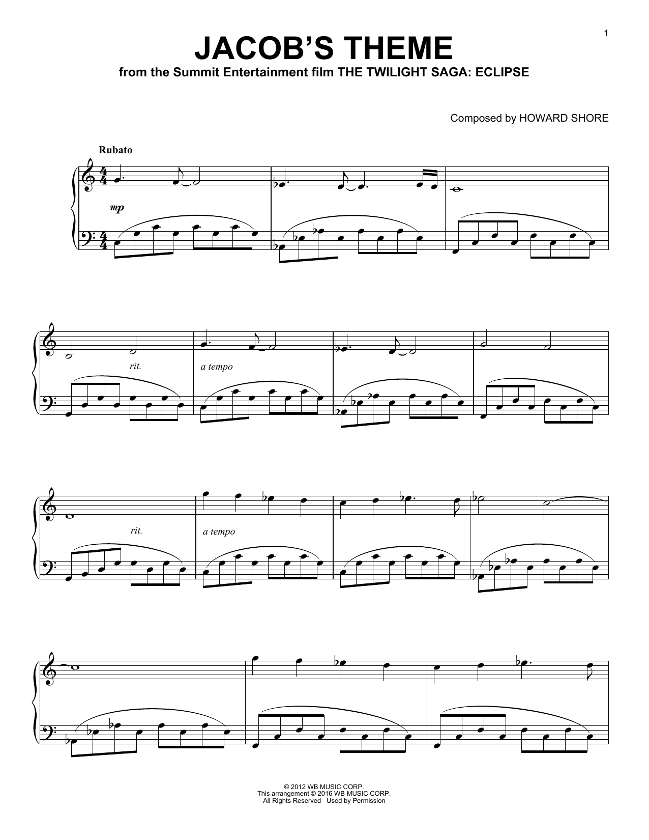 Jacob's Theme Sheet Music