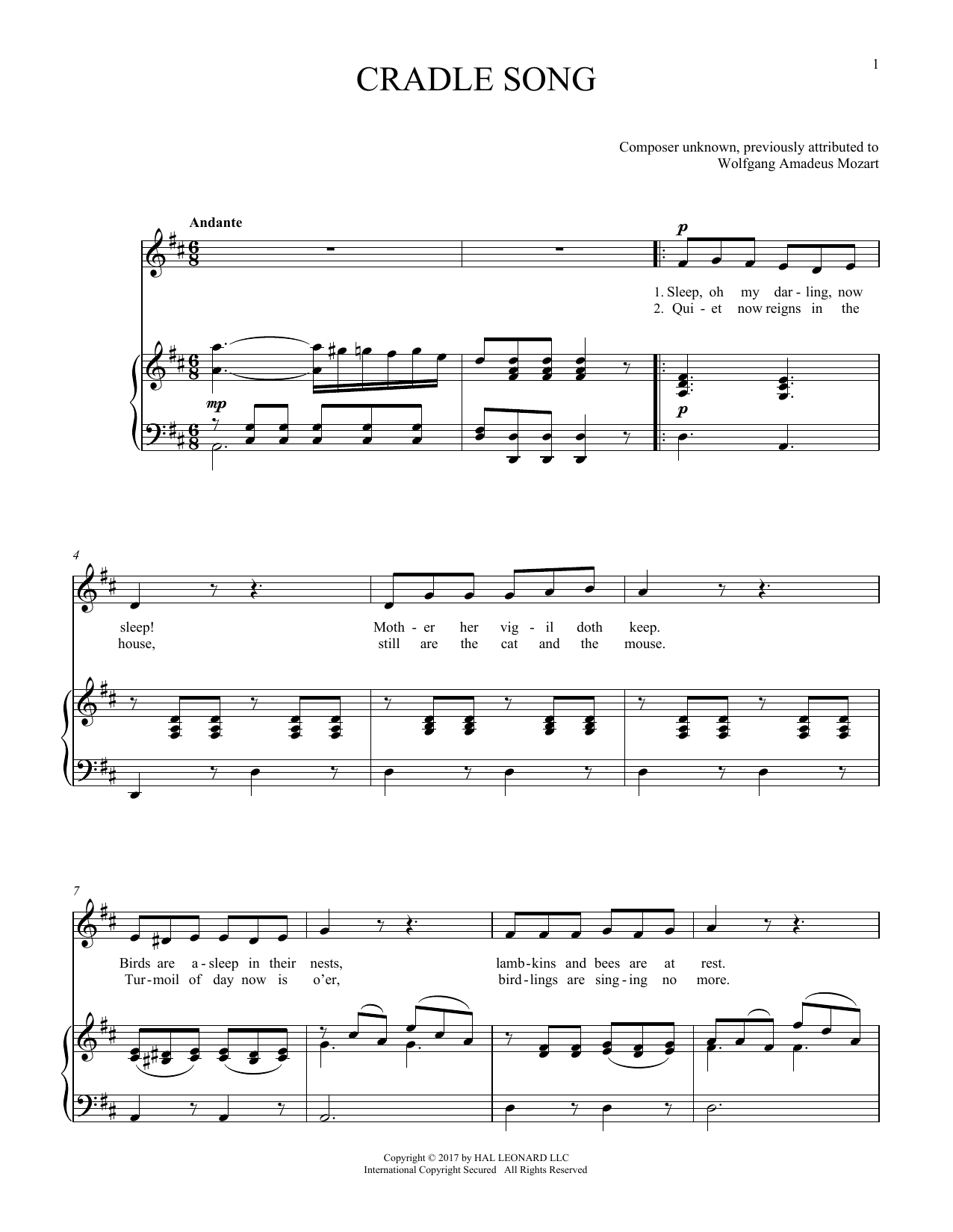 Cradle Song (Piano & Vocal)