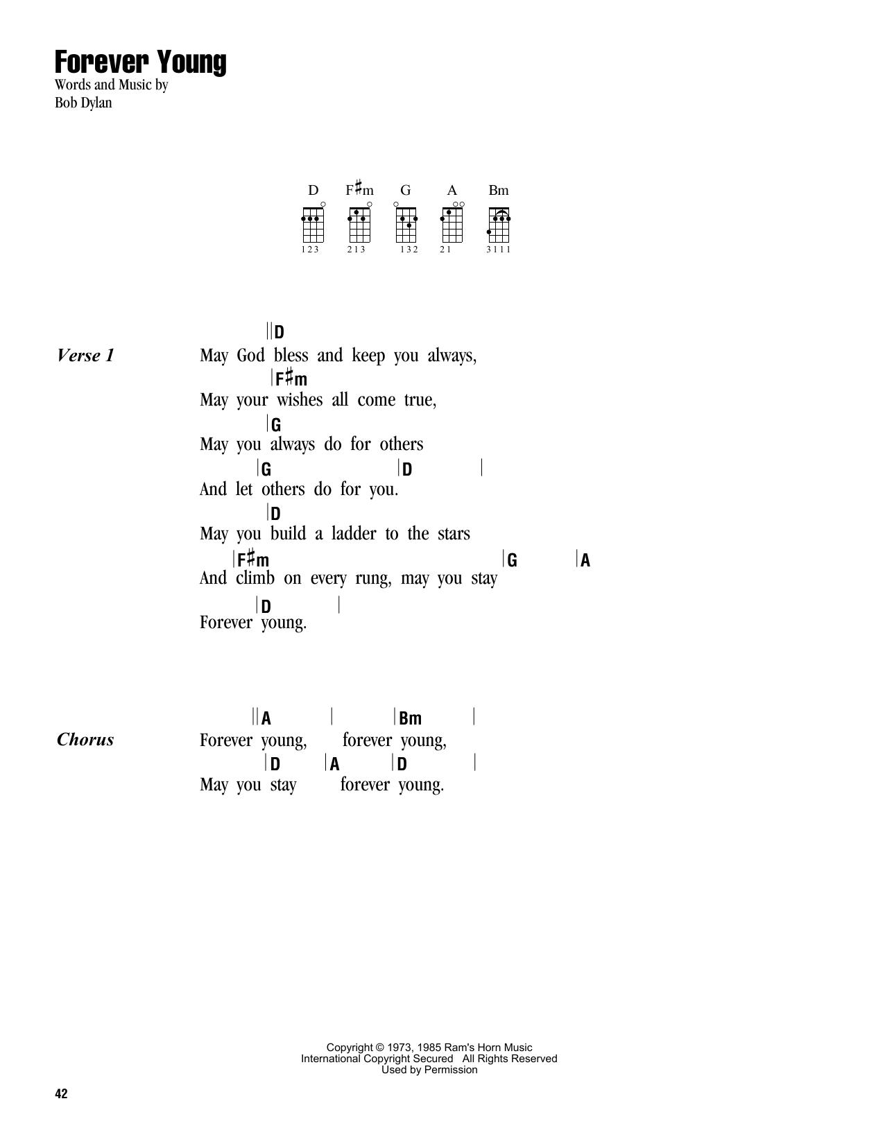 Forever Young (Ukulele Chords/Lyrics)