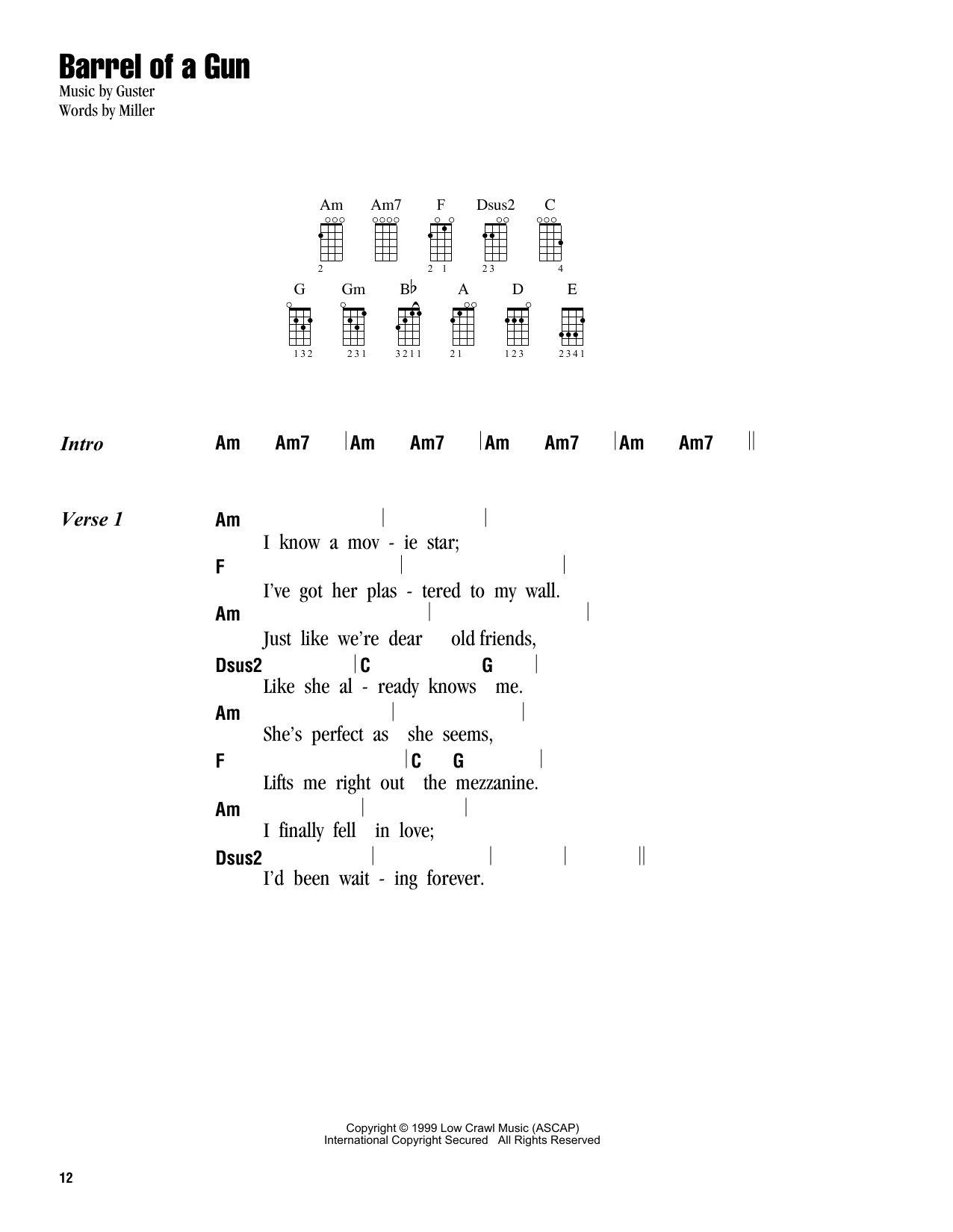 Tablature guitare Barrel Of A Gun de Guster - Ukulele (strumming patterns)