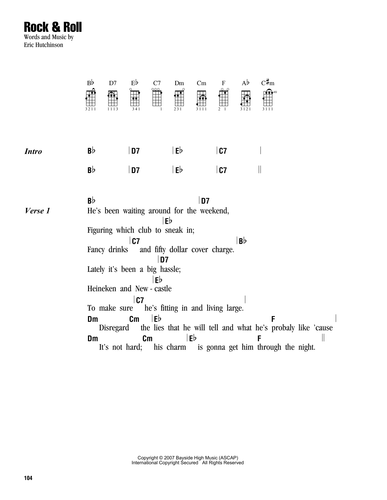 Tablature guitare Rock & Roll de Eric Hutchinson - Ukulele (strumming patterns)