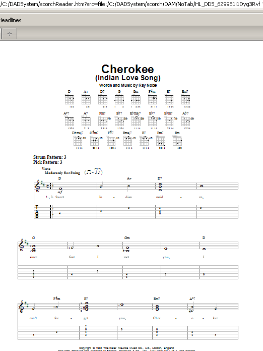 Cherokee (Indian Love Song) (Easy Guitar Tab)