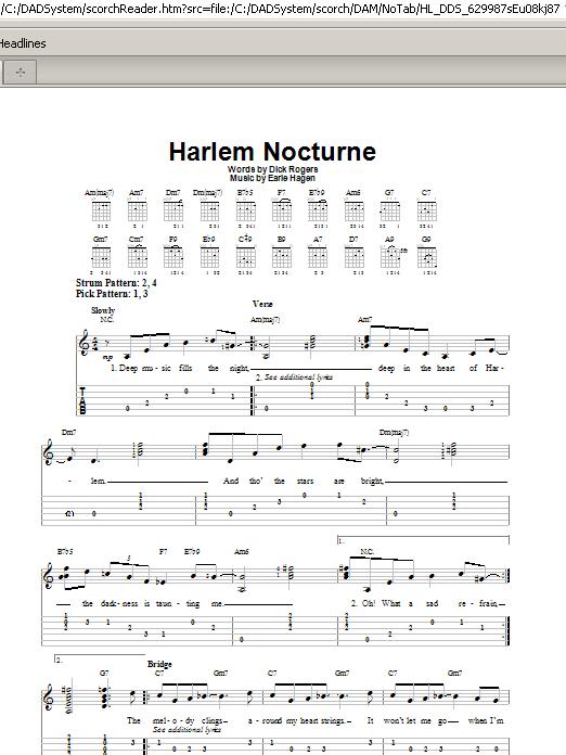 Harlem Nocturne (Easy Guitar Tab)