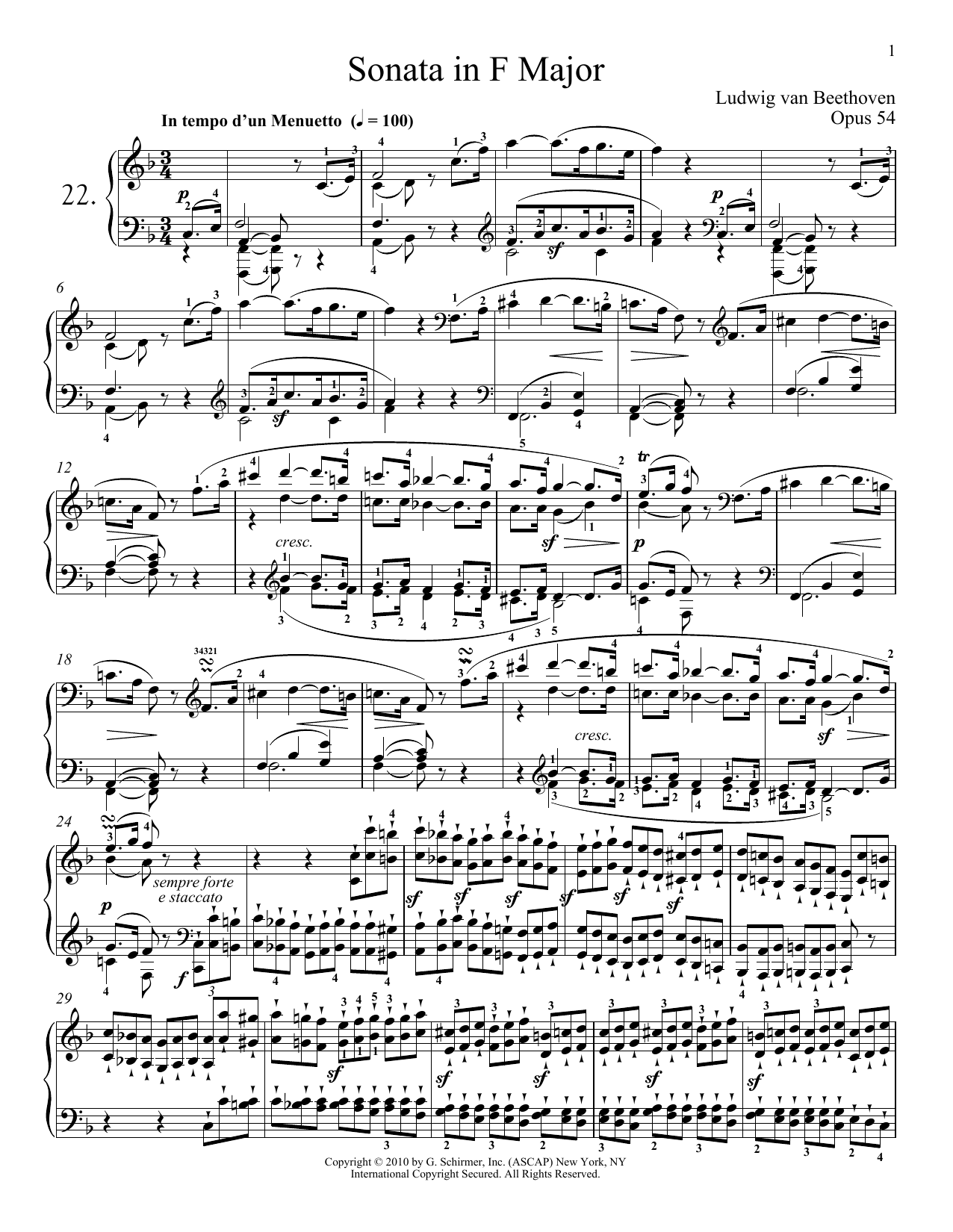 Piano Sonata No. 22 In F Major, Op. 54 Sheet Music