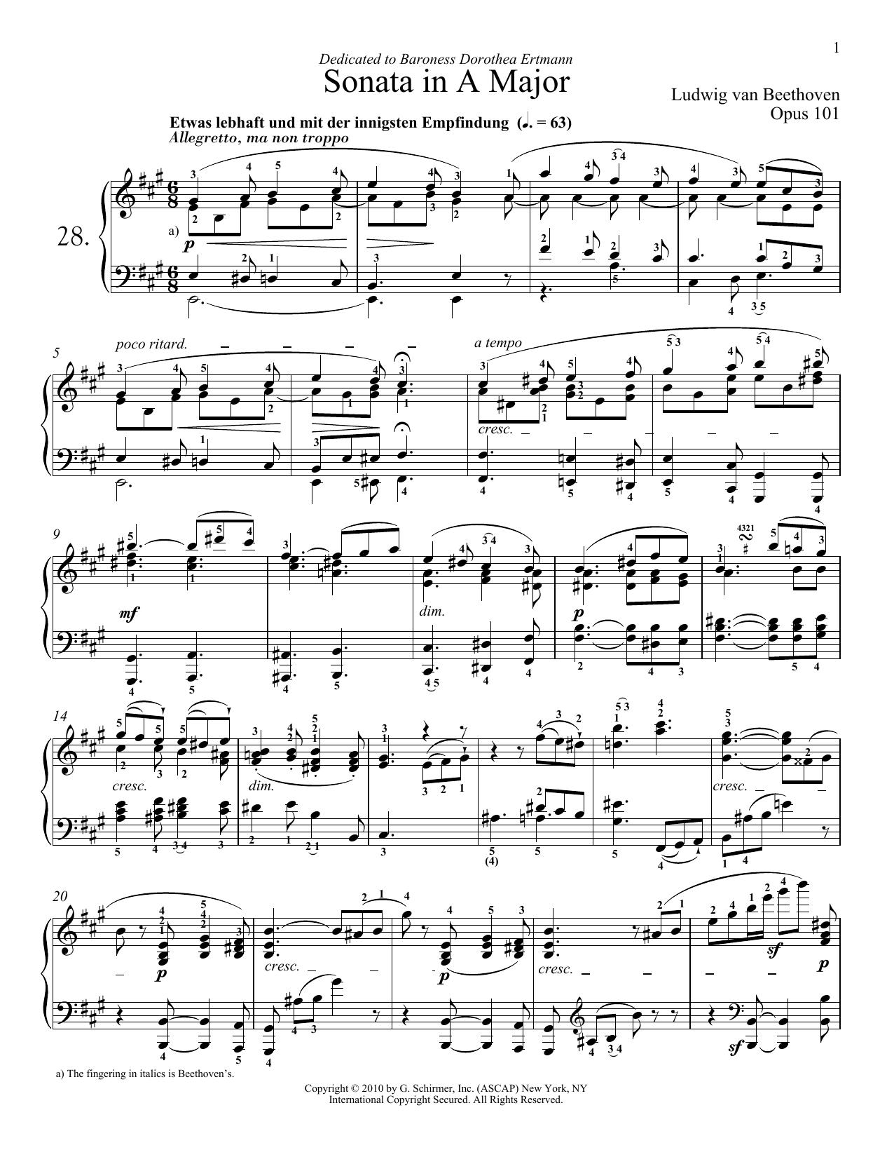 Piano Sonata No. 28 In A Major, Op. 101 (Piano Solo)