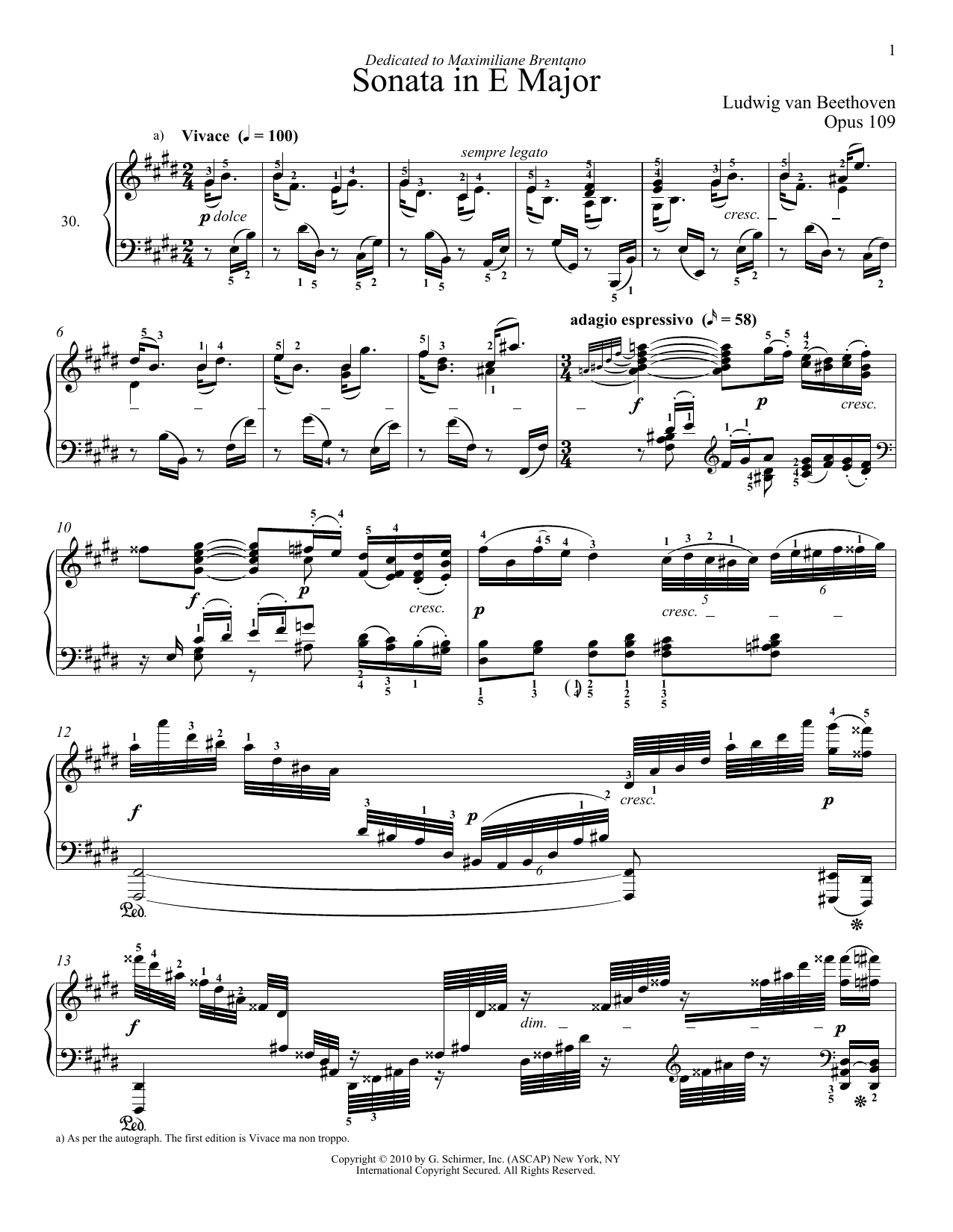 Piano Sonata No. 30 In E Major, Op. 109 Sheet Music