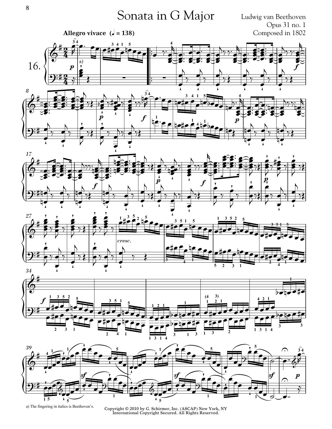 Piano Sonata No. 16 In G Major, Op. 31, No. 1 Sheet Music