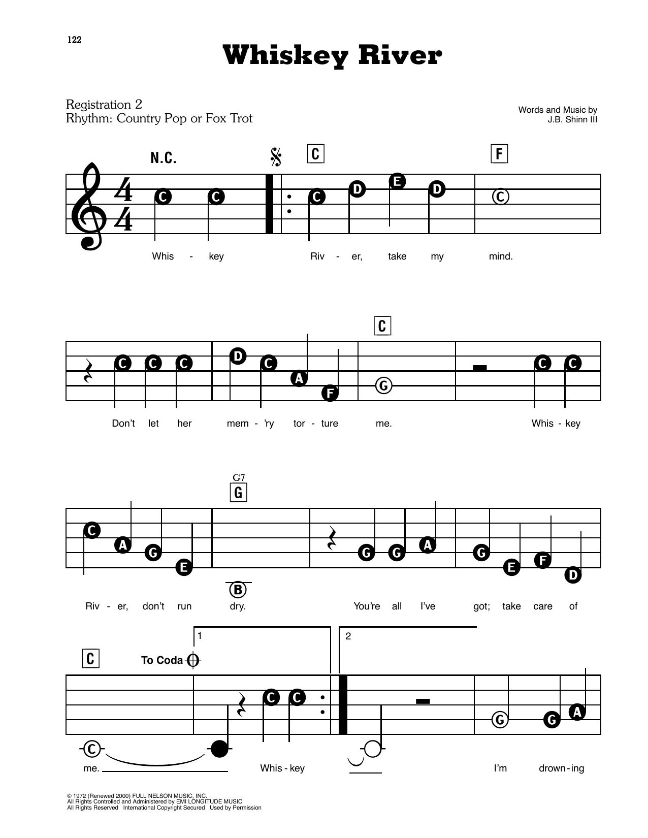 Whiskey River Sheet Music