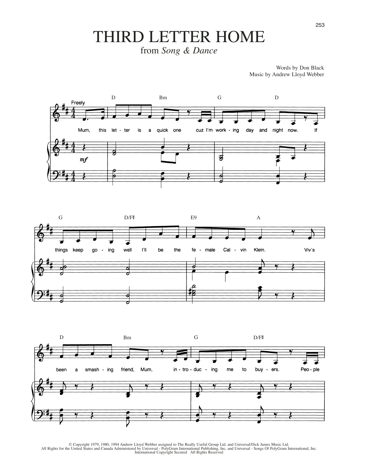 Third Letter Home (from Song And Dance) (Piano & Vocal)