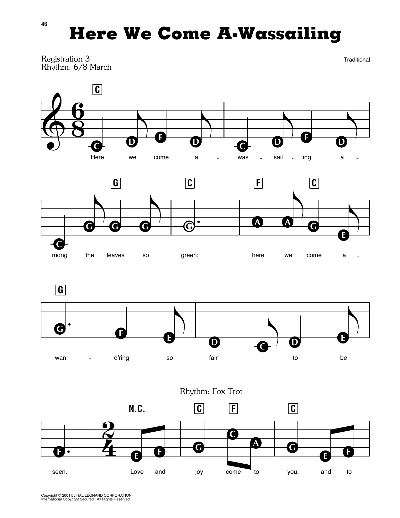 Here We Come A-Wassailing Sheet Music