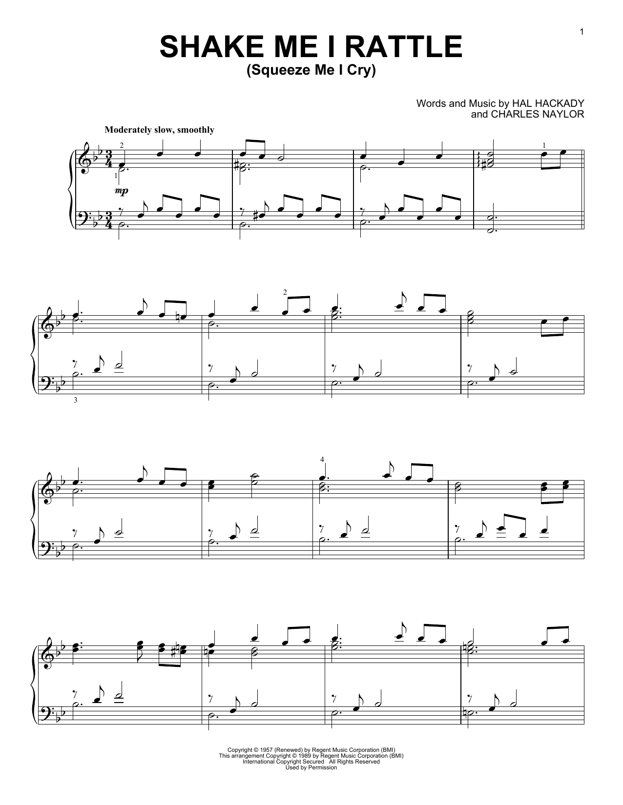 Shake Me I Rattle (Squeeze Me I Cry) (Piano Solo)