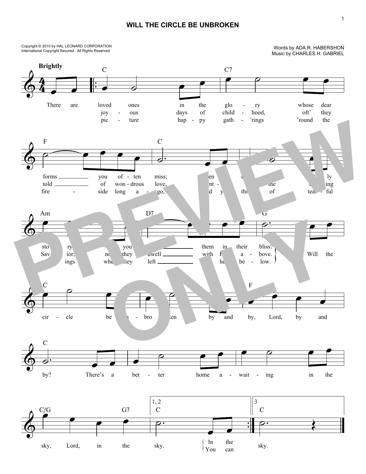 Will The Circle Be Unbroken (Lead Sheet / Fake Book)