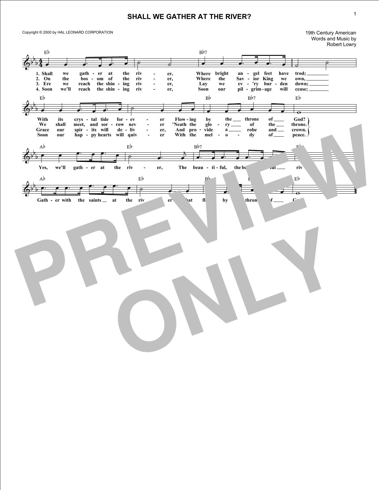 Shall We Gather At The River? (Lead Sheet / Fake Book)