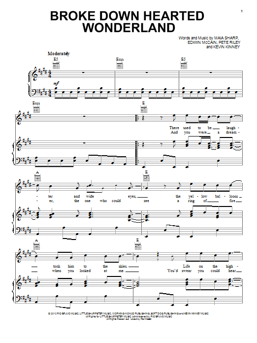 Broke Down Hearted Wonderland Sheet Music