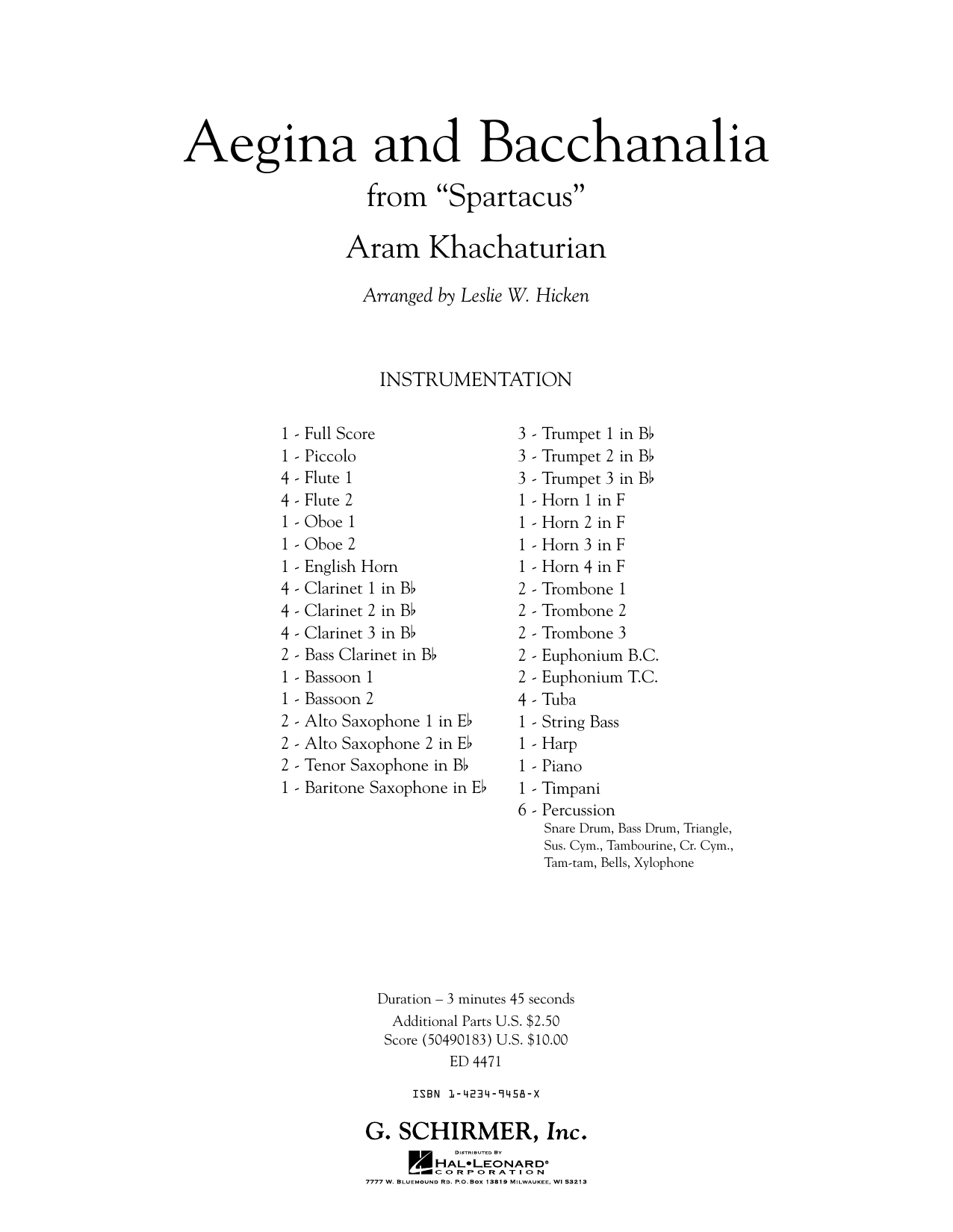 Aegina and Bacchanalia (from Spartacus) (COMPLETE) sheet music for concert band by Aram Khachaturian. Score Image Preview.