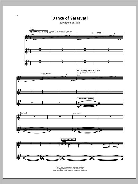 Dance Of Sarasvati Sheet Music