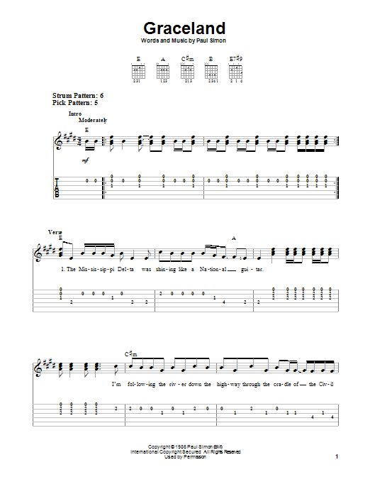 Graceland | Paul Simon | Easy Guitar Tab