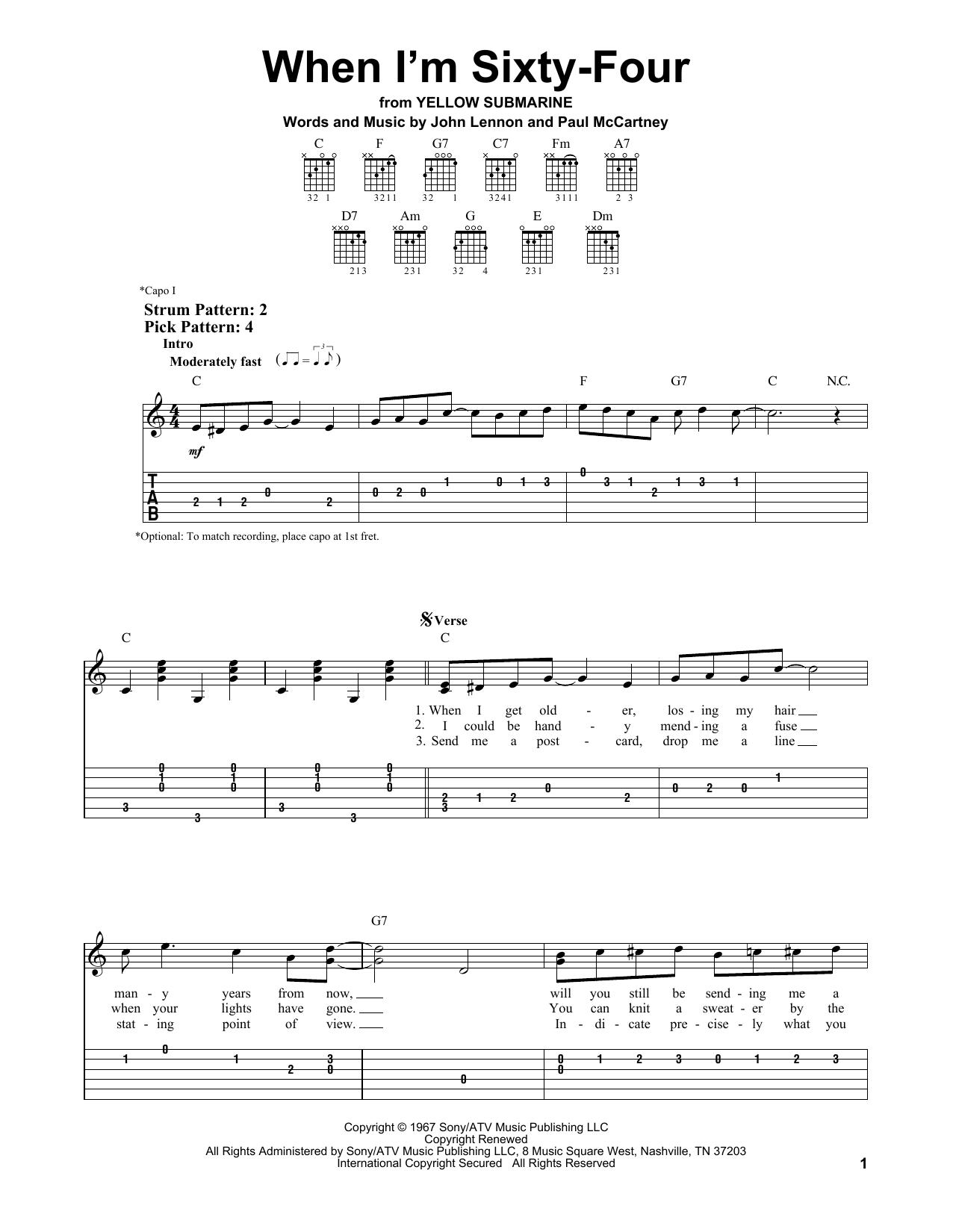 When I'm Sixty-Four (Easy Guitar Tab)