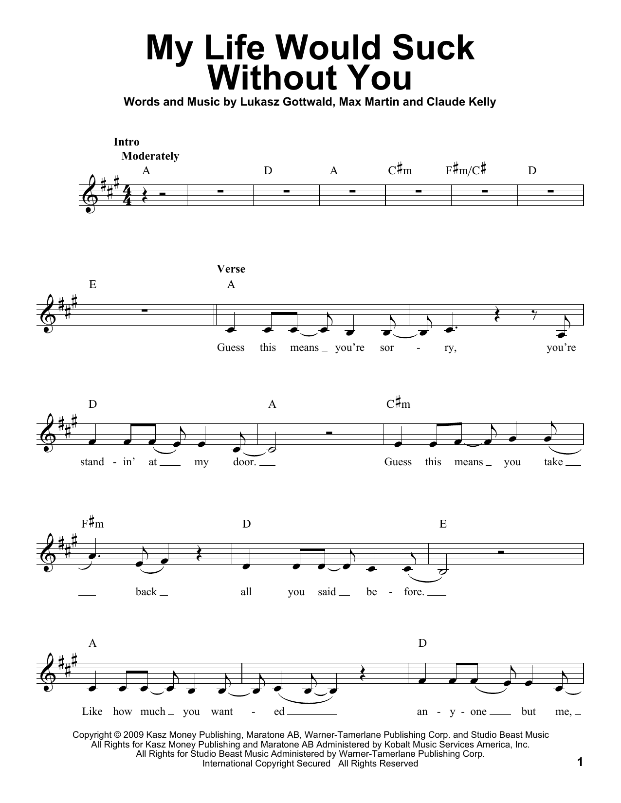 My Life Would Suck Without You Sheet Music