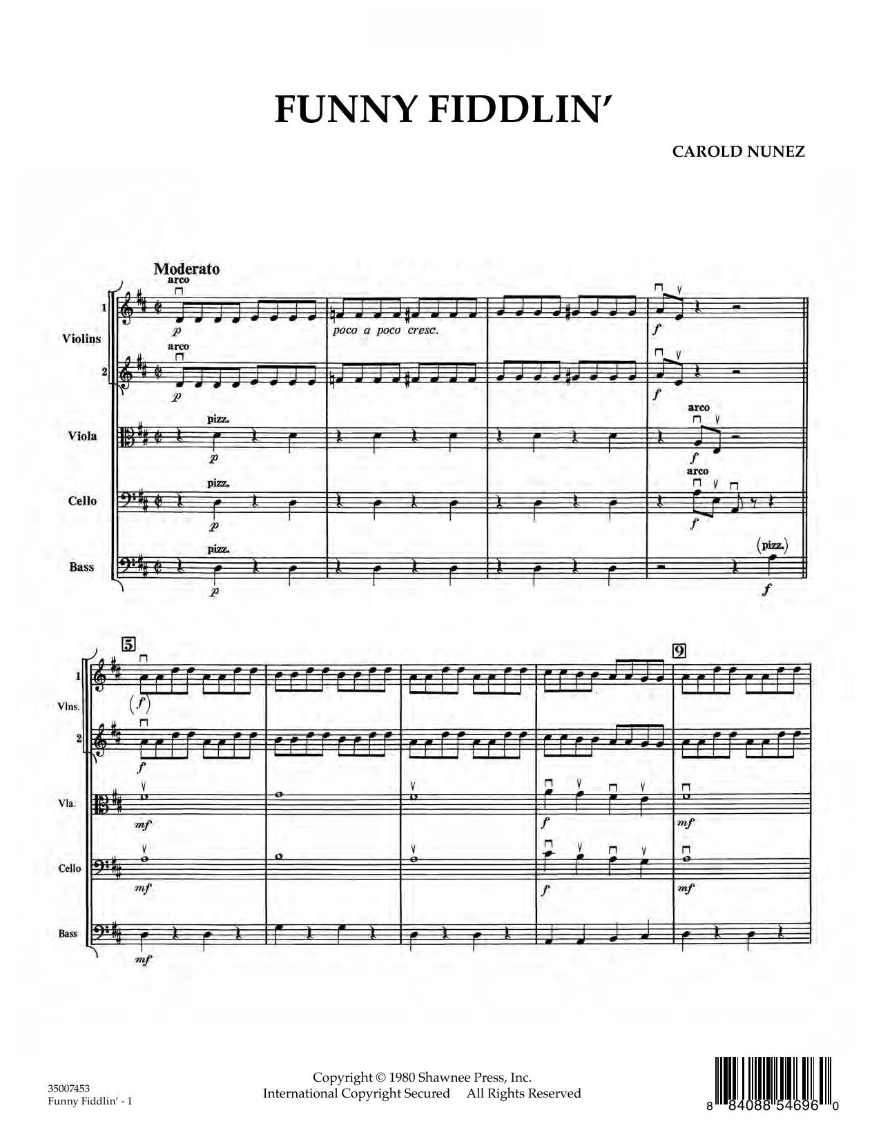 Funny Fiddlin' (COMPLETE) sheet music for orchestra by Carold Nunez. Score Image Preview.