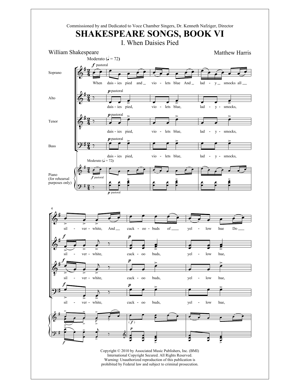 Partition chorale When Daisies Pied de  - SATB