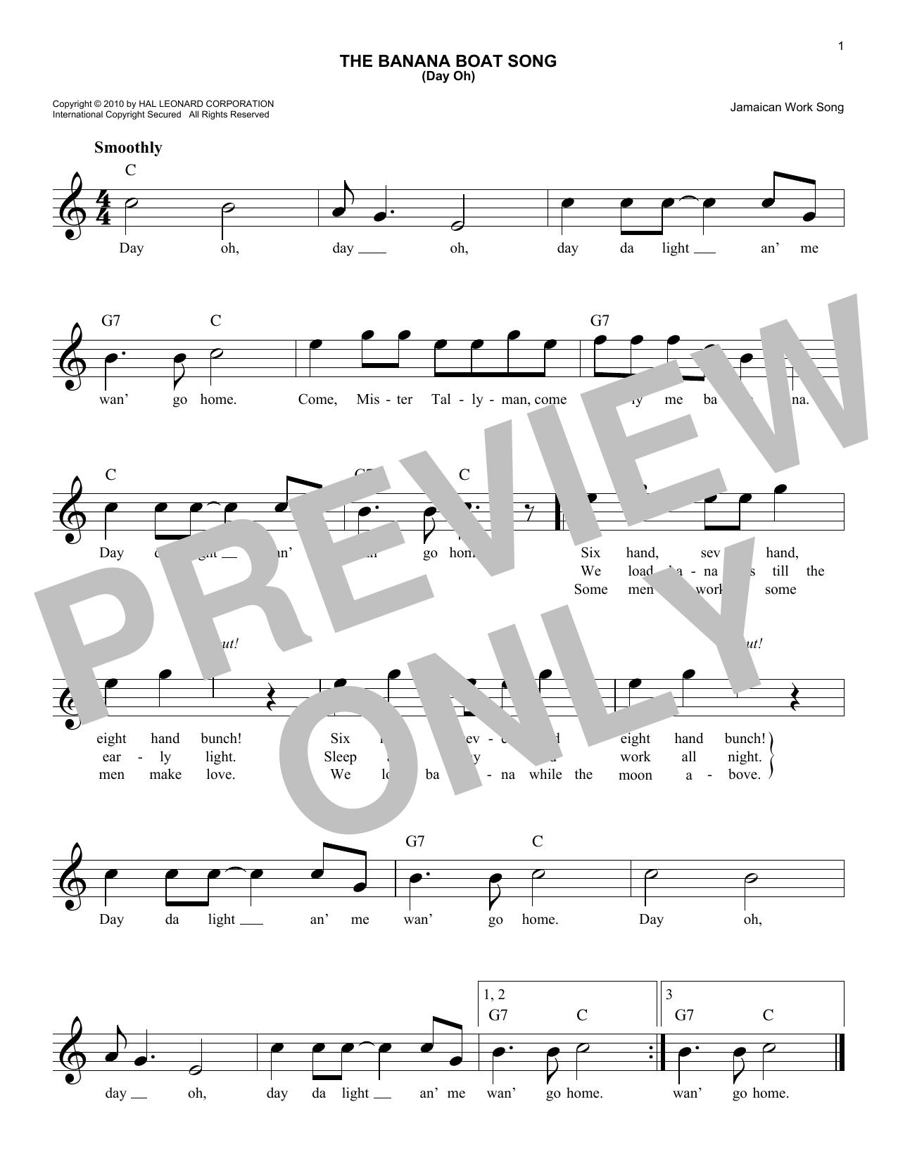 The Banana Boat Song Sheet Music