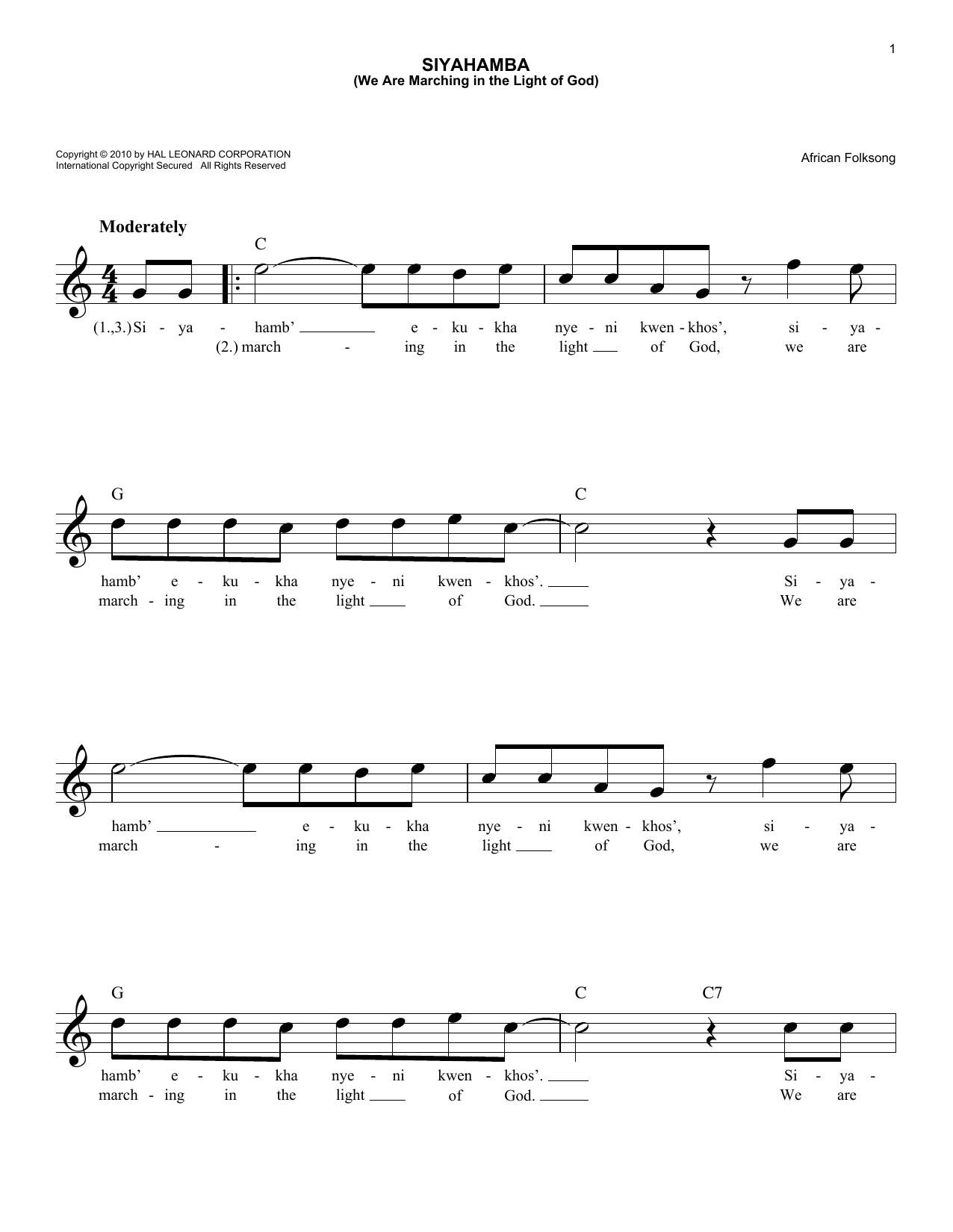 Siyahamba (We Are Marching In The Light Of God) (Lead Sheet / Fake Book)