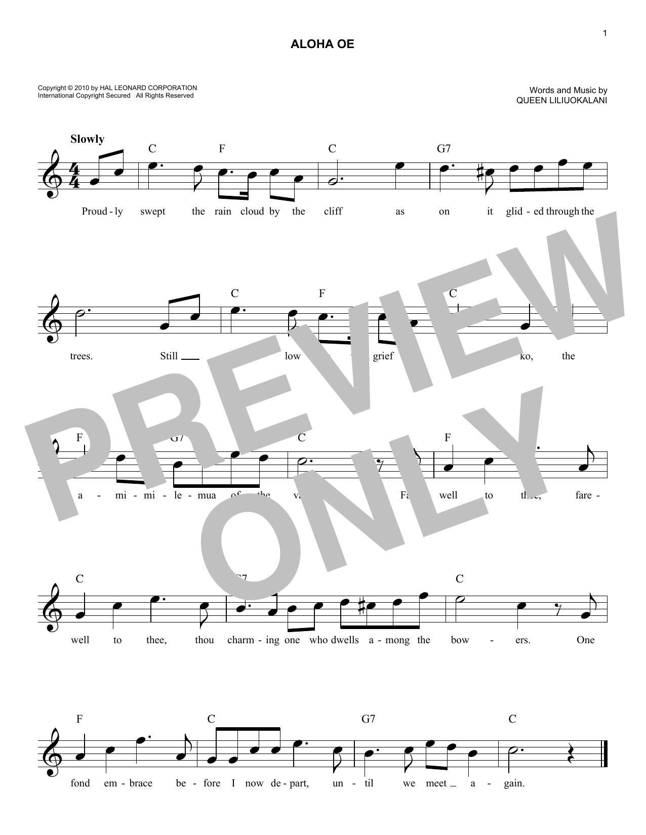 Aloha Oe (Lead Sheet / Fake Book)