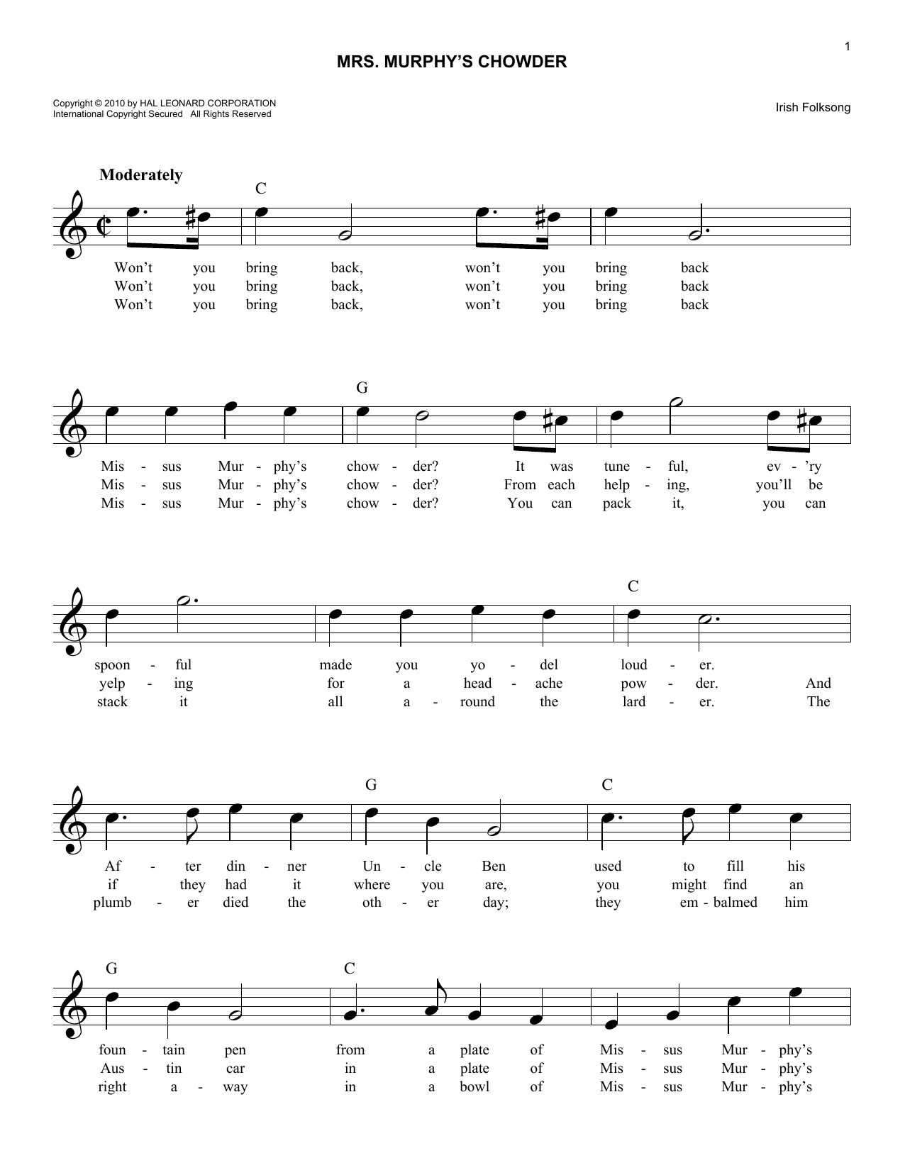 Mrs. Murphy's Chowder Sheet Music