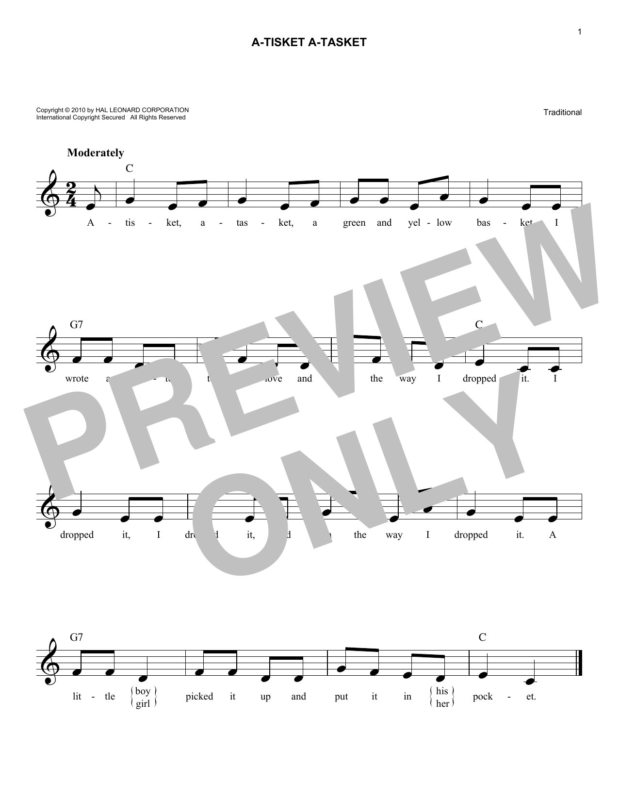 A-Tisket A-Tasket Sheet Music