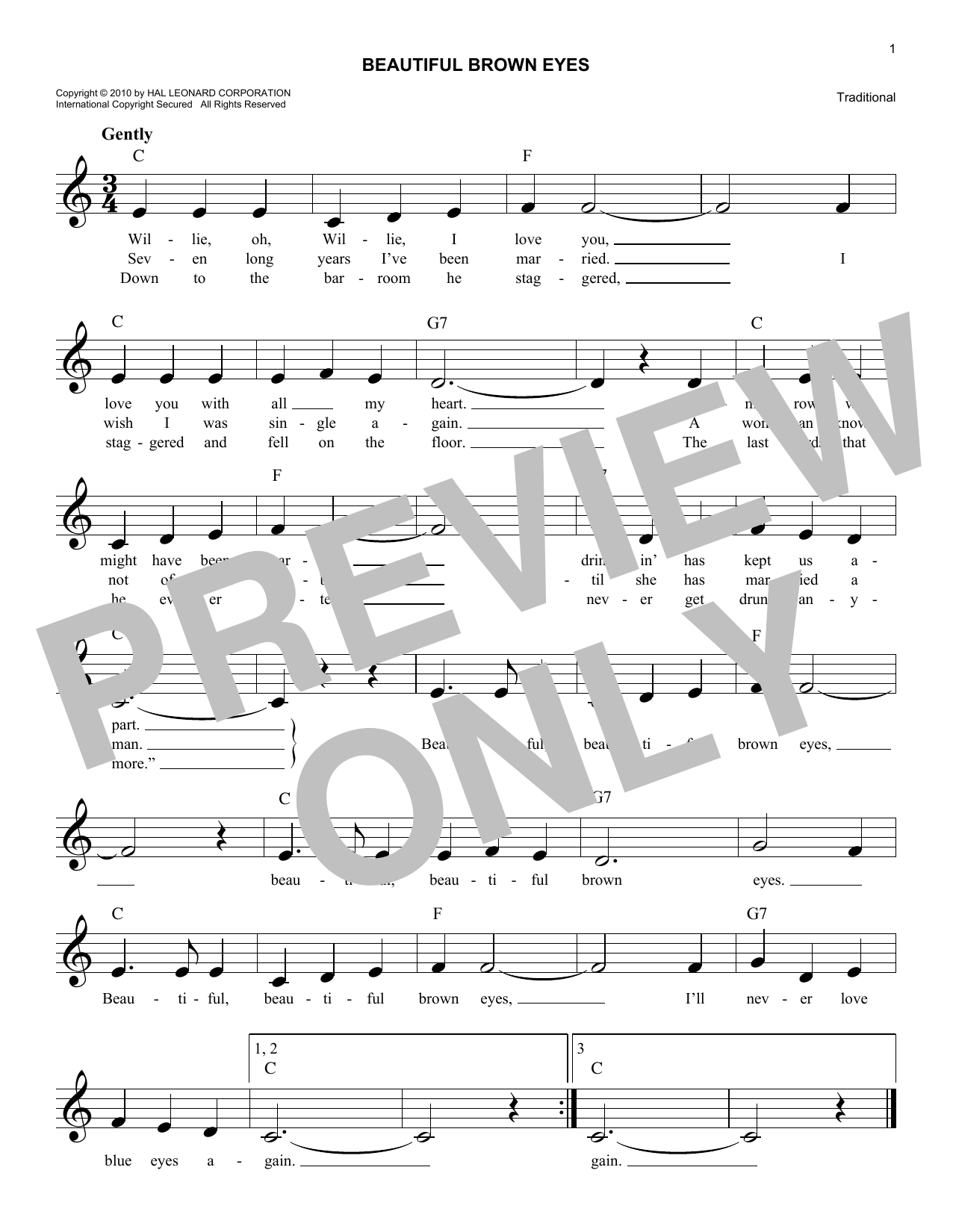 Beautiful Brown Eyes Sheet Music