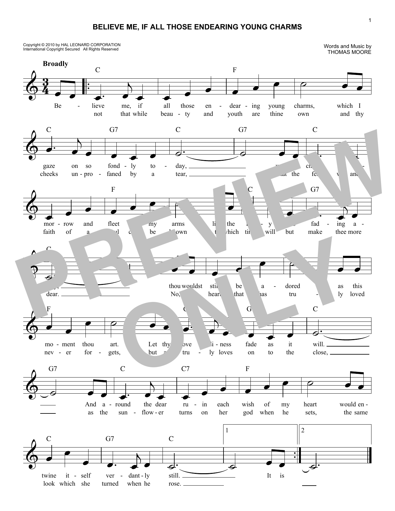 Believe Me, If All Those Endearing Young Charms Sheet Music