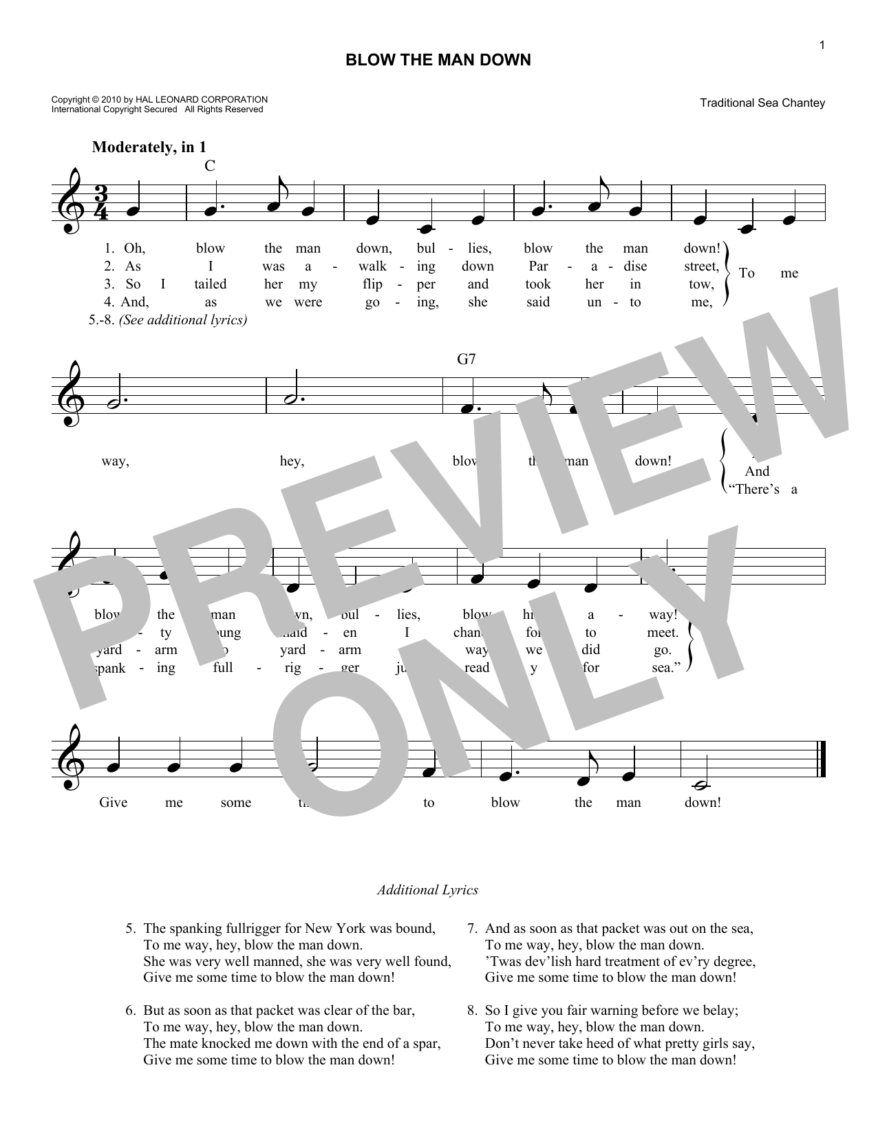 Blow The Man Down Sheet Music