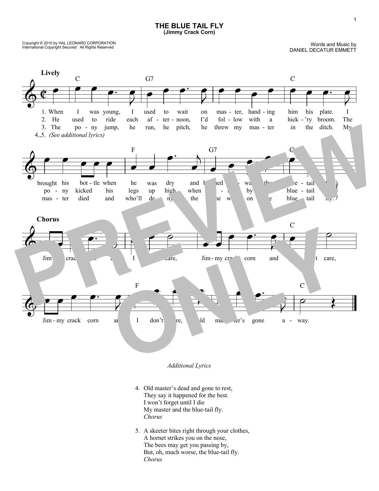 The Blue Tail Fly (Jimmy Crack Corn) Sheet Music